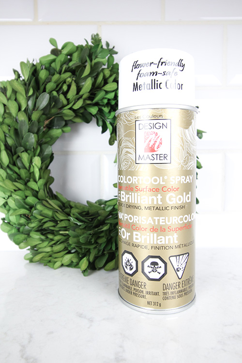 Gold spray paint for dried allium Christmas ornaments