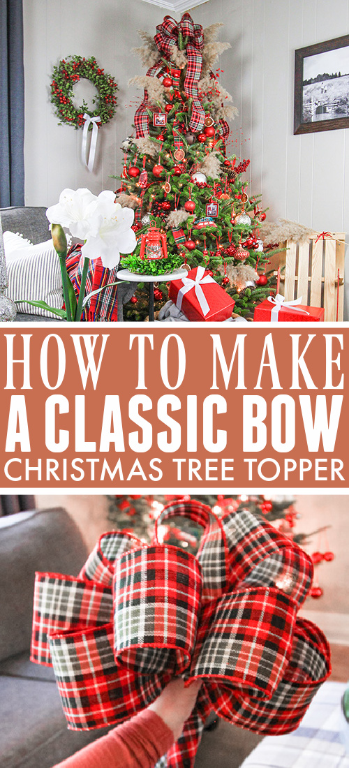In this post I'll show you how to make a bow Christmas tree topper! This is an easy and elegant solution that you can easily customize to match any tree decor!