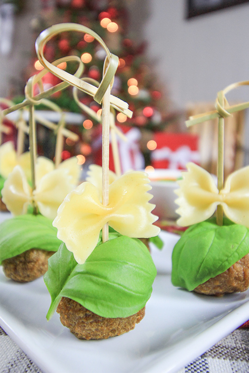 Try this bow tie appetizer idea to dress up your snack selection at your next holiday or get-together!