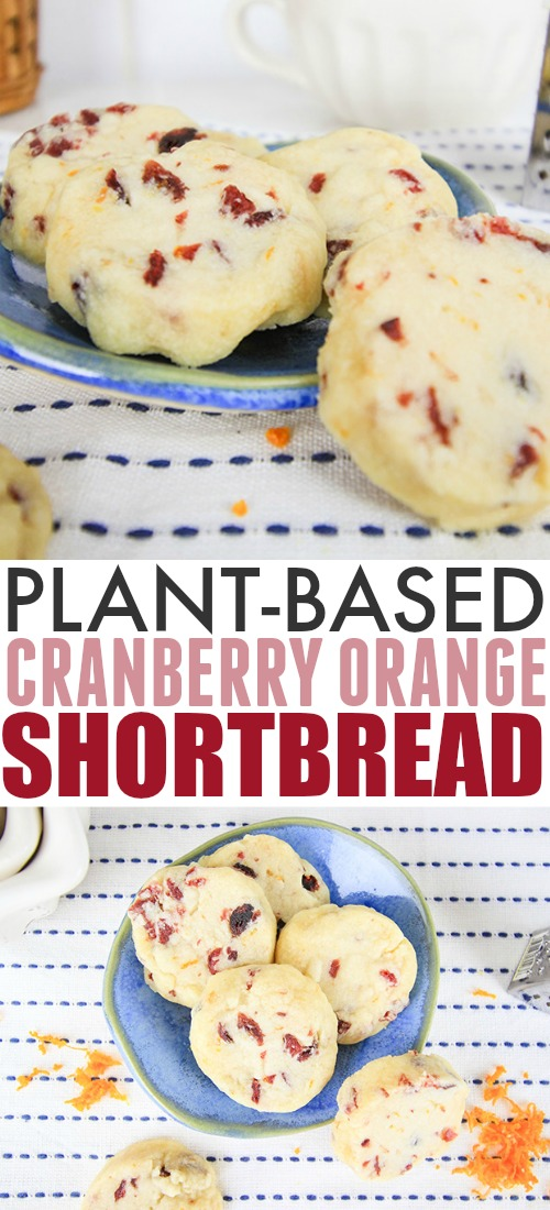 These plant-based orange cranberry shortbread cookies are the perfect winter cookie to enjoy with a cup of tea or coffee. They're easy to make and they freeze well too!