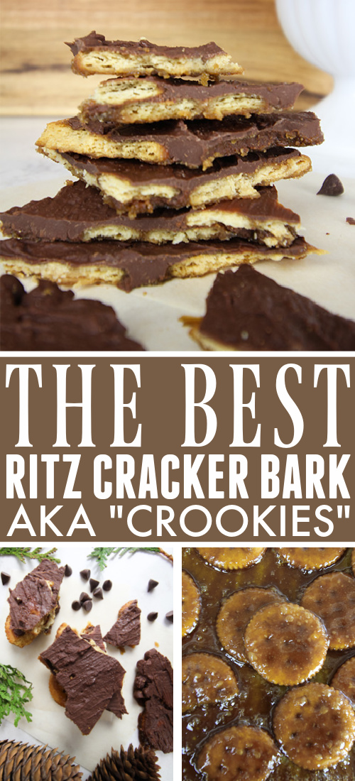 """This Ritz cracker bark will be the perfect, unexpected addition to your cookie tray this holiday season! These """"crookies"""" taste a bit like a Twix candy bar!"""