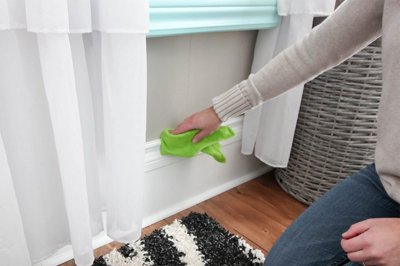 What to Clean in February: Wipe Interior Trim and Baseboards