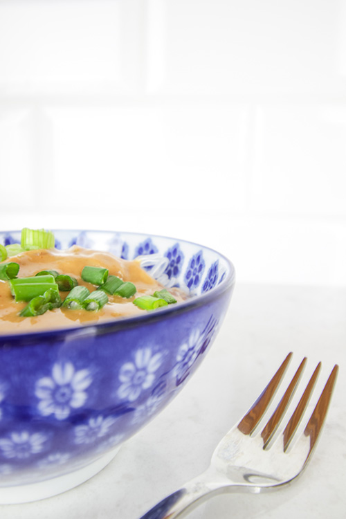 Try this protein powder Thai peanut sauce for a quick plant-based lunch or as the perfect sauce to elevate a veggie stir fry!