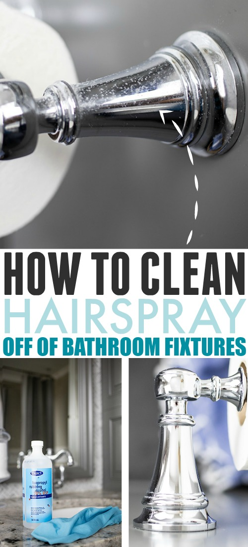 Hairspray can build up on surfaces in the bathroom over time and make them look corroded and dull. Here's how to clean hairspray off of bathroom fixtures!