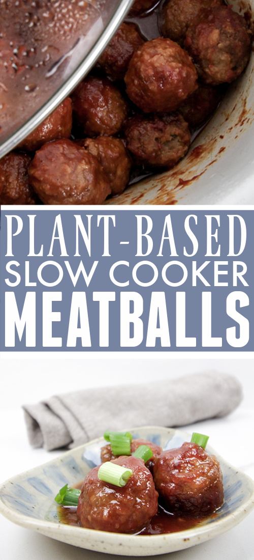 These plant-based slow cooker meatballs are a great update on a potluck classic! Try these for your next game day or holiday gathering!