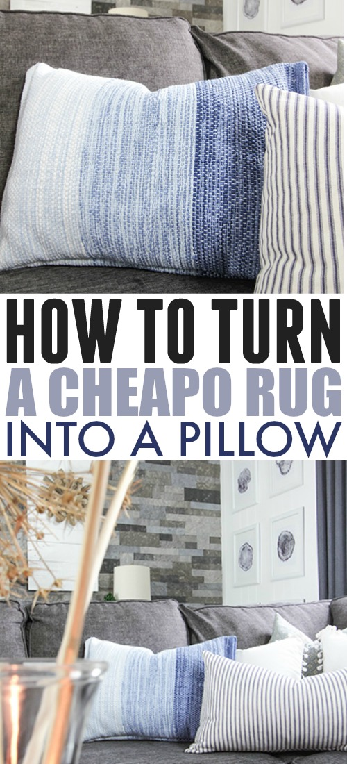 This is possibly the easiest and cheapest DIY pillow that you can make! This DIY rug pillow only cost me about $5 to make and it adds tons of personality and texture to my living room!