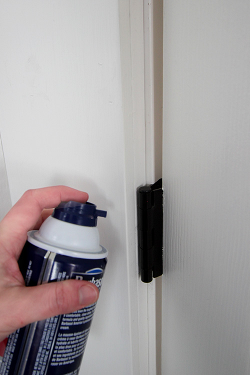The shaving cream trick for squeaky hinges