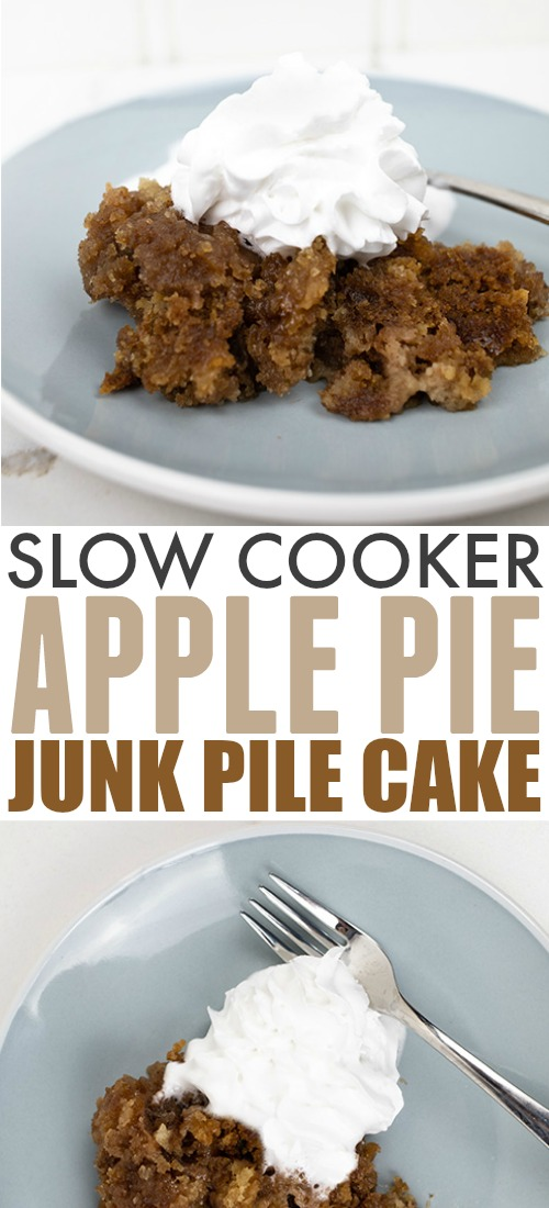 Try this slow cooker apple pie dump cake the next time you want a family-style comfort food dessert that will feed a crowd! So easy to make and dangerously tasty!