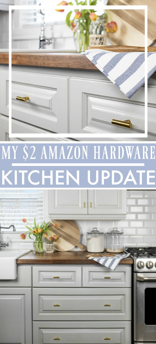 Today I'm going to share a really fun little update that I did in our kitchen last week featuring this cute affordable gold kitchen hardware I came across!