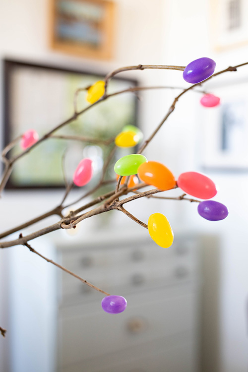 Try making these jelly bean branches for a fun addition to your Easter decor this year. They'll be loved by kids and grown-ups alike!