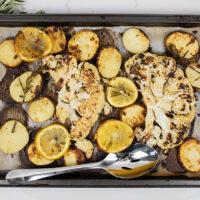 Lemon, Garlic, and Rosemary Sheet Pan Cauliflower and Potatoes