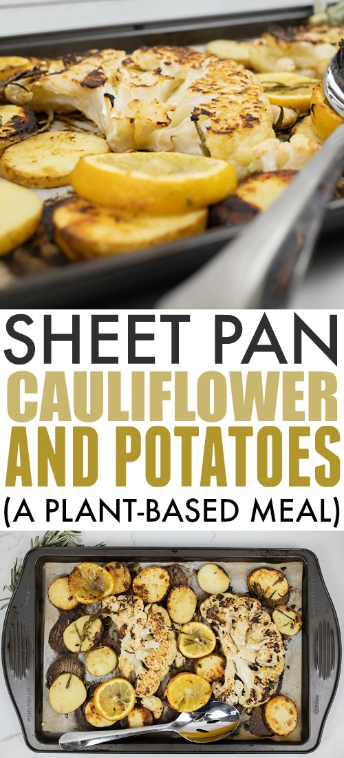 Try this simple sheet pan cauliflower and potatoes recipe the next time you need a simple and delicious plant-based meal! Great as a side dish too for non-plant-based friends and family!