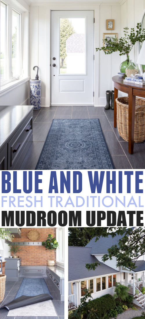 In today's post I'll share a little update we just finished up in our blue and white mudroom. I've always loved this space, but it's even better now dressed in blue and white!