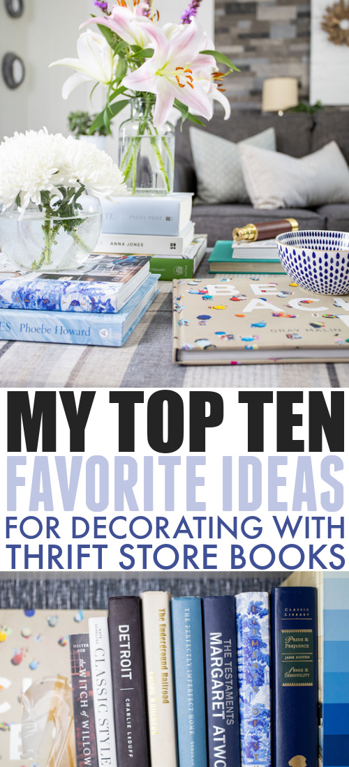 I've been building up my collection of beautiful books to fill out the living room bookshelves we've been working on and the thrift store has been a great resource! Here are some ideas for decorating with thrift store books!