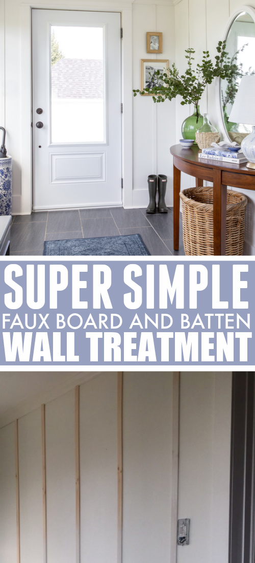 In today's post I'm going to show you this really simple faux board and batten wall treatment that we added to our mudroom!