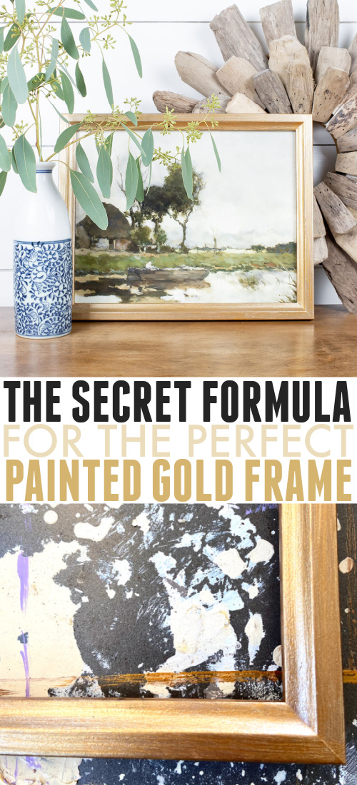 I could never find the perfect gold frame, so I came up with my own method to paint them myself! Here's my secret formula for the perfect painted gold frame!