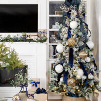 Blue and White Christmas Decor in Our Living Room