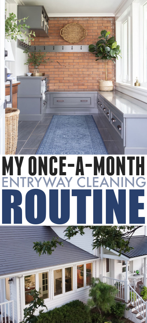 In today's post I'll share my mudroom, porch, and entryway cleaning routine that I try to get to about once per month. It really keeps things under control in that area of our home!