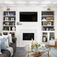 DIY Living Room Built-In Shelves and Fireplace