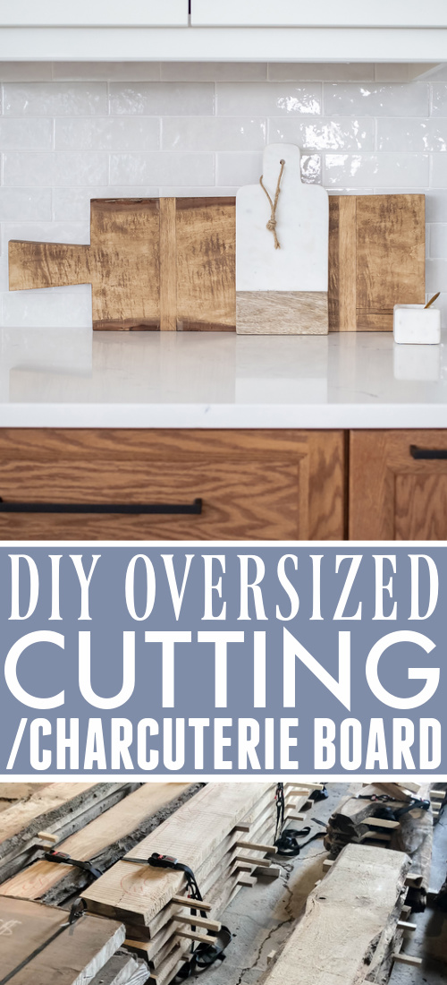How to make your own DIY giant cutting board to use as kitchen decor. Make it exactly the size you need for much less than you'd pay to buy one!