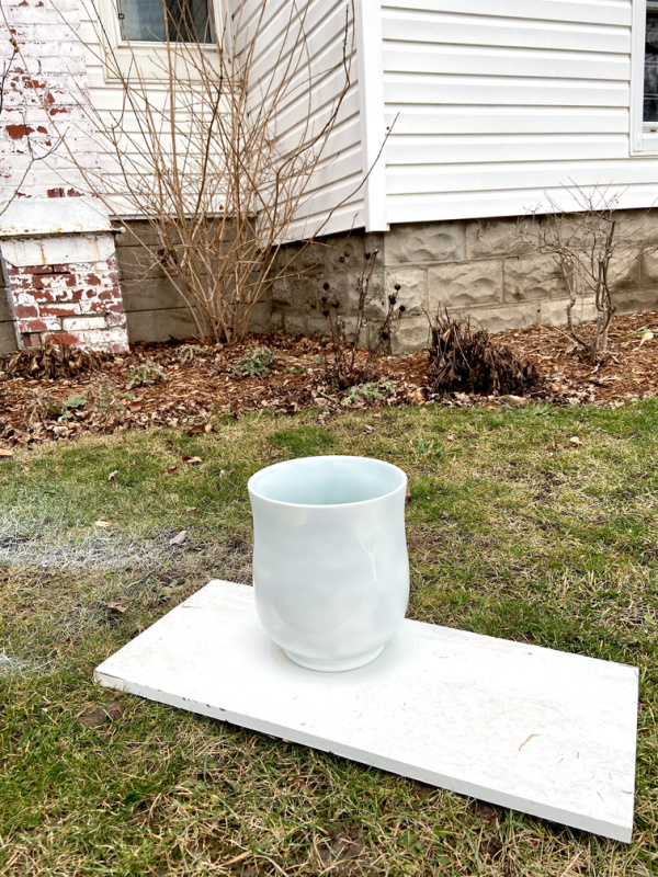 How to make your own oversized matte white vase using thrift store finds! I just love how this one turned out. :)