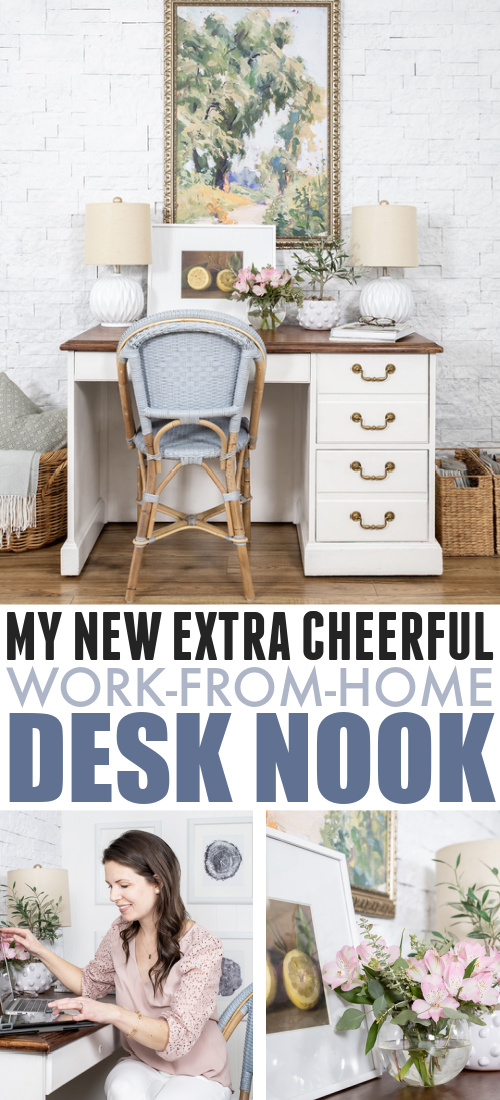 After working from home for a decade, I finally created a proper desk area for myself and today I'm going to give you a little tour! Here's my new blue and white desk nook.