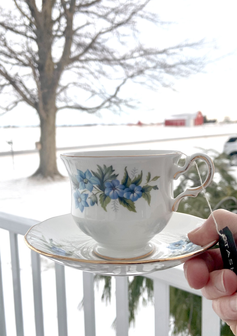 Tea on the porch in winter