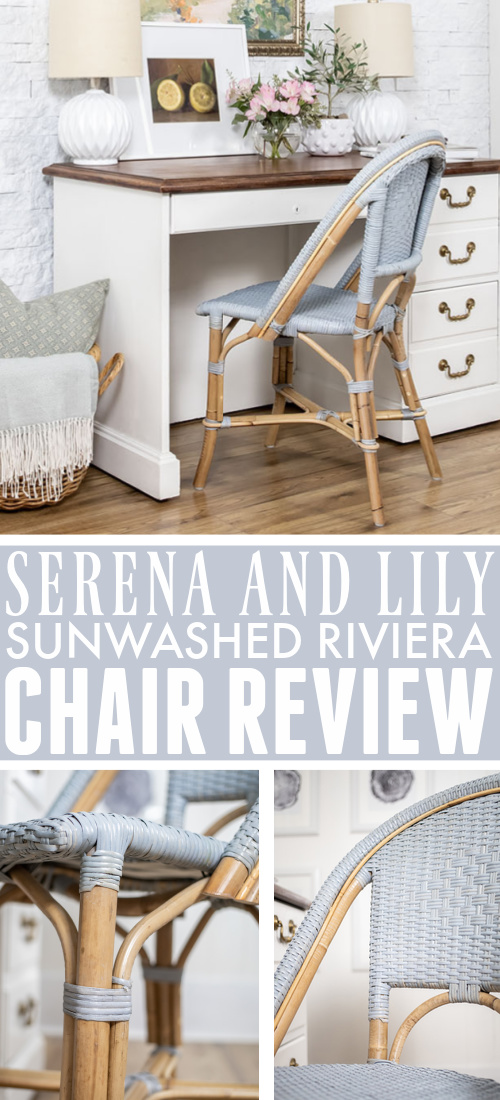 Today I thought I would share my thoughts on my new desk chair because it's such a popular one, but I wasn't able to find much information about it online before I bought mine. Here's my Serena and Lily Sunwashed Riviera Chair review.