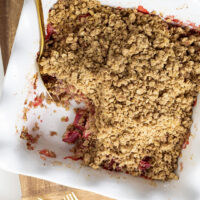 Strawberry Rhubarb Crisp Recipe and Some Fancy New Bakeware