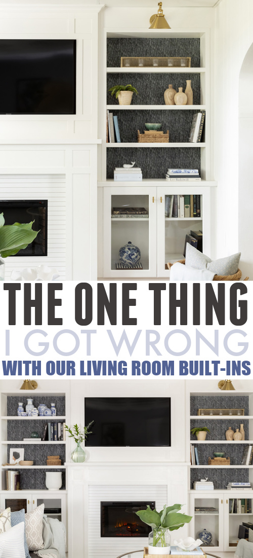 I love the built-in bookshelves and fireplace that we installed in the living room last fall, but there was just one little thing that was really bugging me. So here's the little change I made to our living room built-ins!