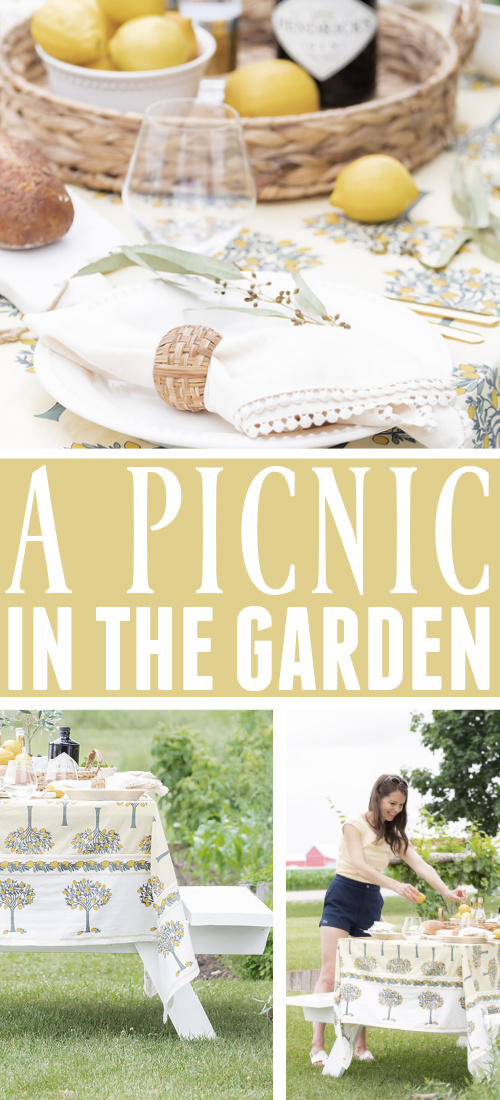 I set up our newly refreshed picnic table the other day in our freshly-tidied garden with the most lovely summer table linen finds from my friends at Kochi Stores. Please enjoy these photos of our picnic in the garden!