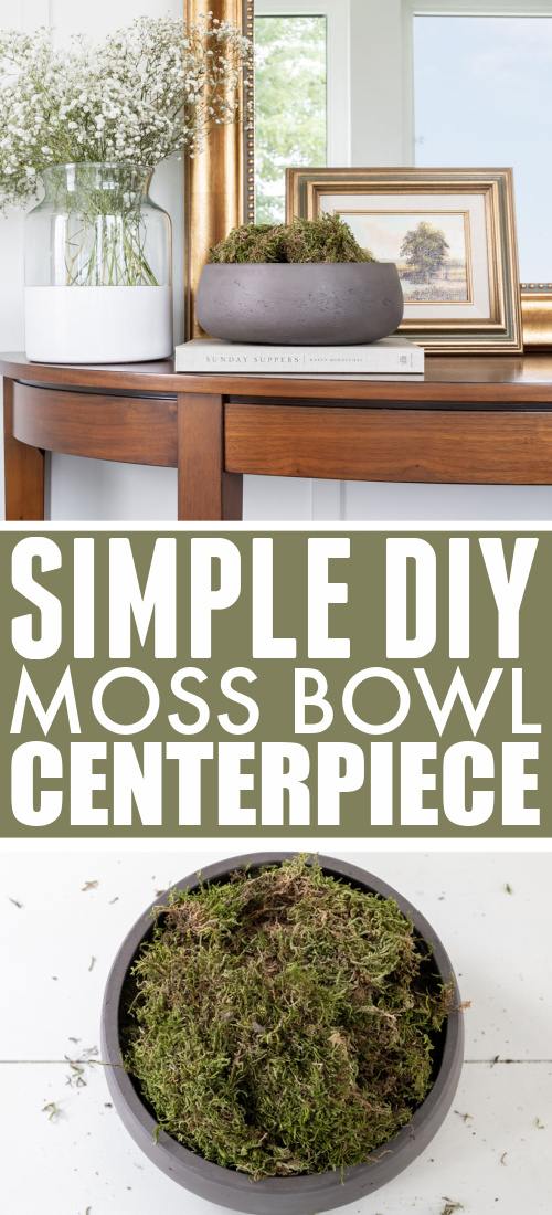 This moss bowl centerpiece makes a great addition to a coffee table, console, or on a shelf! It's easy to make, on-trend, and works well as an alternative to a plant if you have an area with low-light.