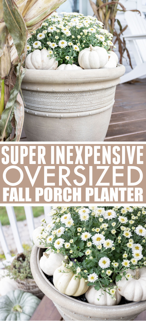 This giant fall porch planter cost me less than $15 to put together! Here's how to make this inexpensive oversized fall porch planter.