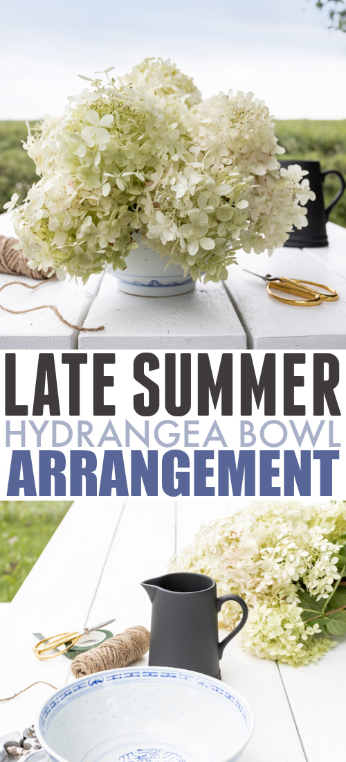 I love the hydrangeas that bloom here in late summer and early fall! Here's how to make a really beautiful and simple hydrangea bowl arrangement.