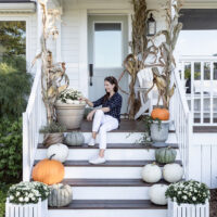 Green and White Fall Front Porch