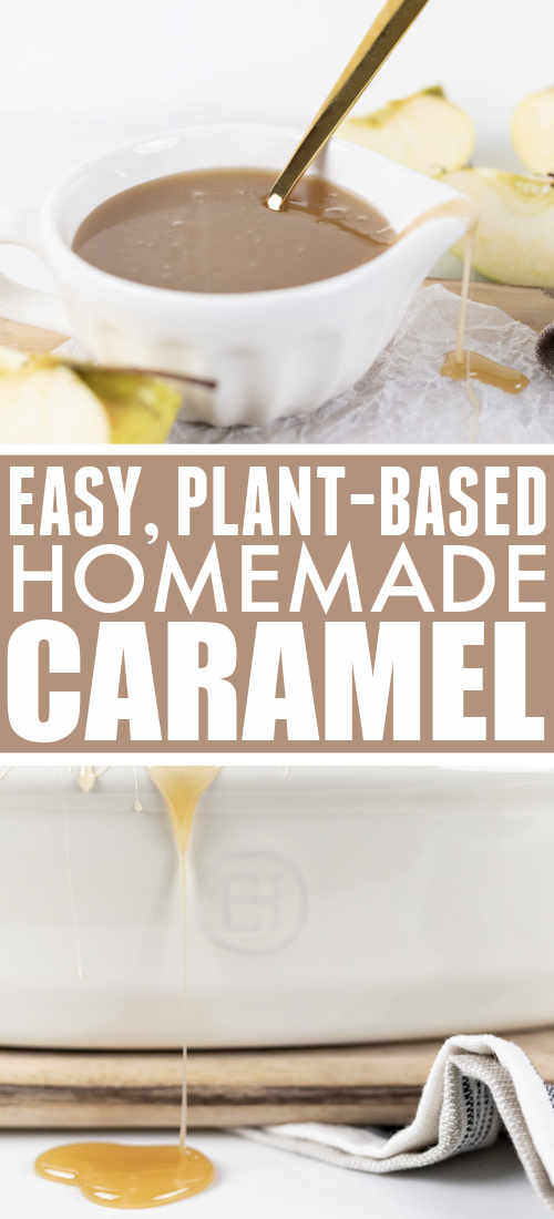 This easy plant-based caramel recipe uses simple ingredients and a traditional method for a caramel sauce that's perfect for caramel apples and as a topping for your favourite desserts.