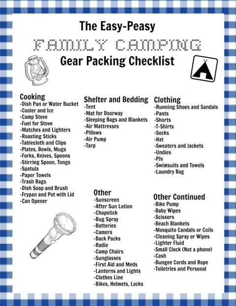 graphic regarding Printable Camping Checklist titled My Uncomplicated-Peasy Household Tenting Listing and a Free of charge Printable